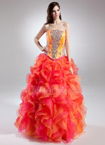 Ball-Gown Strapless Floor-Length Organza Charmeuse Prom Dress With Beading